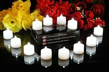 12 White Flickering LED Battery Tea Lights - Flameless Candles by PK Green