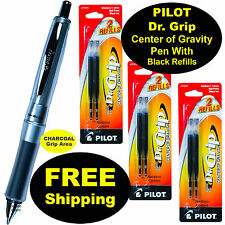 Pilot Dr Grip Center of Gravity Pen With 3 Pk of Refills, Charcoal Grip, Blk Ink
