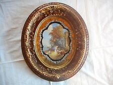 "Beautiful Vintage Round Wood Ornate Gilt Gold Foil 15"" x 13"" Picture Frame"