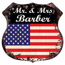 BPLU0376 America Flag MR. & MRS BARBER Family Name Sign Decor Wedding Gift