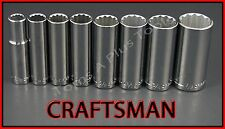 CRAFTSMAN HAND TOOLS 8pc LOT 3/8 Dr 12 pt DEEP SAE ratchet wrench socket set