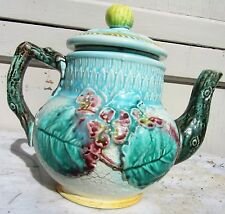 EXCEPTIONAL ANTIQUE TEAPOT POTTERY 19TH CENTURY MAJOLICA POTTERY