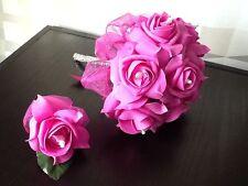 NOZZE Fiori Sposa / MAID Fuscia Schiuma ROSE Posy Bouquet & B, foro BRIDAL pacchetto
