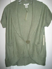 $160 Vertigo Paris Angora Wool Sweater Cardigan Olive Moss Green  Sz L NWT