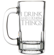 12oz Beer Mug Stein Glass Funny I Drink And I Know Things
