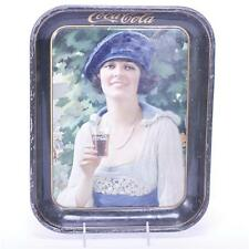 Coca Cola Tin Litho Serving Tray from 1921 girl in blue hat. Lot 298