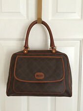 Bally Vintage Brown Coated Canvas Monogram & Leather Purse Satchel Handbag Bag