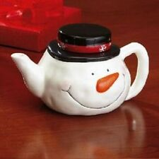 CERAMIC SNOWMAN TEAPOT DECORATIVE HOLIDAY CHRISTMAS NEW
