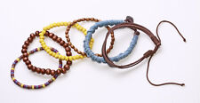 BROWN, YELLOW & MULTI WOOD BEAD BRACELETS W BLUE PLAIT & LEATHER ADDITIONS(ZX45)