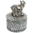 NEW Silver Buddha Elephant Trinket Box Statue Ornament Figurine