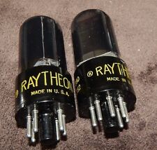 AMAZING MATCHED PAIR RAYTHEON BLACK GLASS 6V6G / 6V6GT NOS TUBES SQUARE PLATES