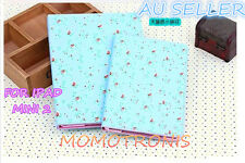 small flower BLUE iPad mini 2 Leather Flip Cover Case AUTO Wake/Sleep function