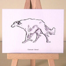 miniature Borzoi Art Deco style drawing Russian Wolfhound ACEO card