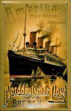 Blechschild Norddeutscher Lloyd Bremen Amerika Ost Asien Australien Dampfer Deko