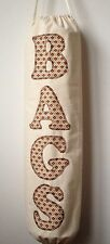 Handmade Carrier Bag Holder. Cream Calico With Appliqued Letters.