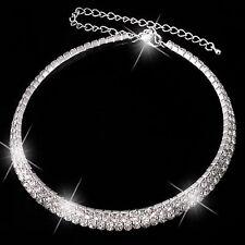 Damen Gala Collier 43 cm versilbert CRYSTAL Kette Mode Braut Reif Silber Strass