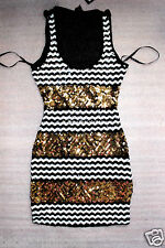 NWT bebe black white gold sequin mesh open cutout back skirt top dress XS 0 2