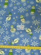FLEECE PRINTED FABRIC CHRISTMAS HOLIDAY - Snowman Winter Blue - BLANKET BY YARD