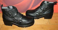 Black real leather platform thick heel buckle Vagabond combat ankle boots  41 B1
