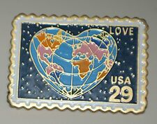 World Globe in Heart shape USA Postage Stamp 1991 Brooch Tie Tack Lapel Pin