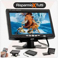 MONITOR 7 POLLICI LCD PORTATILE AUTO CAMPER VIDEO RETROMARCIA CON TELECOMANDO