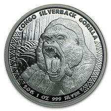 2015 Republic of Congo 1 oz Silverback Gorilla Prooflike Coin - SKU #94482