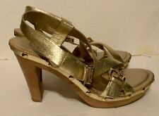 Franco Sarto Women's Shoes-gold Leather Strappy Heels-size 9.5