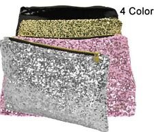 Brand New SHINY SILVER Sequin Night Out Bag Clutch Make Up Cosmetic