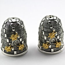 Novelty Victorian Style Beehive Bees Salt and Pepper Shakers 925 Silver Plate