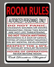 """""""ROOM RULES"""" Funny Man Cave,Kids room etc, metal sign- 9""""x12"""" - FREE SHIPPING"""