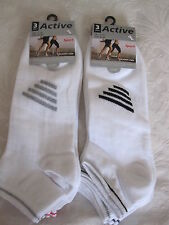"Bnwt - 6 prs big foot actif ""sport"" blanc sneaker chaussettes avec rayures-taille 11-14"