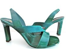 NEW FAB YVES SAINT LAURENT GREEN SUEDE HEEL SANDALS, EU38/UK5