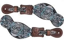 Showman Western LADIES Spur Straps w/ Blue Sugar Skull Design! NEW HORSE TACK!