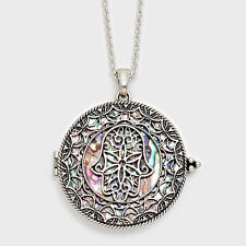 "Hamsa Hand Evil Eye Charm Necklace SILVER Magnifying Glass 33"" Protect Abalone"