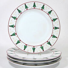 "Sakura MAGIC OF SANTA 11"" Dinner Plate Set 4pc Red Green Christmas Tree Mumm"
