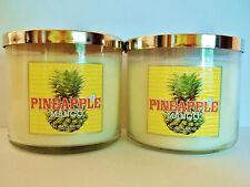 Bath Body Works Slatkin Co. PINEAPPLE MANGO 3-wick Candles 14.5 oz., NEW x 2
