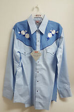 NWT ELY DIAMOND MEN'S COUNTRY WESTERN SHIRT BLUE W/ WHITE EMBROIDERED ROSES L