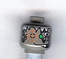 LEGO - Minifig, Head Alien w/ Silver Hair, Copper Eyegrid & Headset - Dark Gray