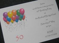 Personalised Birthday Party Invitations / Thank You Cards 40th/50th/60th ANY AGE
