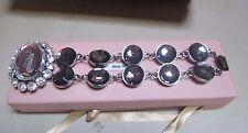 """""""MUI MUI"""" Amazing Bracelet Rhinestone/Large Grey Crystals/Large Crystal Center!!"""