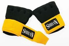 Boxing QUICK INSERT GEL Padded Hand Wrap Gloves Black/Yellow - Senior
