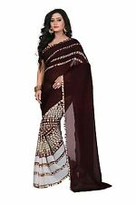 Janasya Women's Brown Printed Georgette Saree