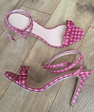 NEW JCREW GINGHAM LETAHER SANDALS WITH BOW 10 PINK BROWN F1361 $258 SOLD-OUT!