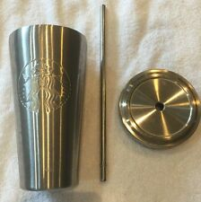 Starbucks Grande  Stainless Steel Cold Cup with Stainless Steel Straw 16 oz