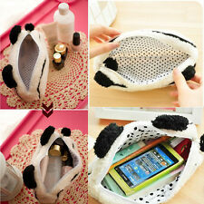 HOT Womens Panda Plush Pencil Case Pen Pocket Makeup Cosmetic Zipper Bag Kawaii