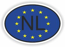 OVAL EUROPEAN UNION FLAG WITH NL THE NETHERLANDS COUNTRY CODE STICKER MOTO AUTO