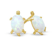 CLOSE OUT! 14K Solid Gold SYN OPAL TORTOISE Earring - FREE SHIP!