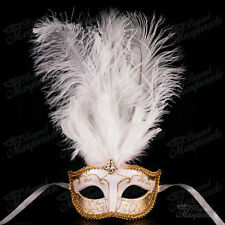 White/Gold Venetian Feather Mask with Ostrich Feather -  Masquerade Mask