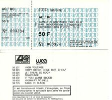 RARE / TICKET DE CONCERT - AC/DC AC / DC LIVE A PARIS FRANCE LE BOURGET 1980