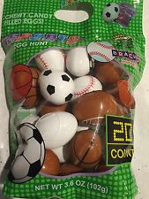 CANDY PREFILLED EASTER EGGS HUNT SPORTS 20 PC JELLY BEANS EASTER BASKET NEW